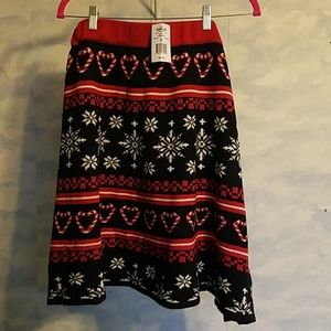 Valentine hearts with snowflakes sweater skirt